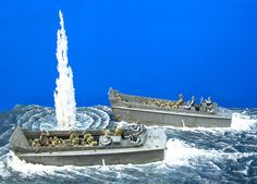 'Brave Heart' diorama - Depicting the D-Day landings of June 6, 1944, two 1/35 scale Italeri LCVPs with 48 converted Dragon and MiniArt figures.