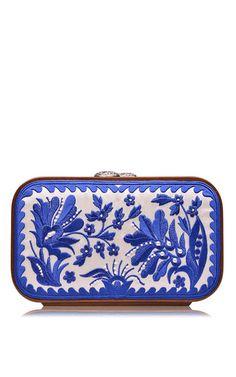 Blue floral brocade embroidered square bag by KATRIN LANGER for Preorder on Moda Operandi