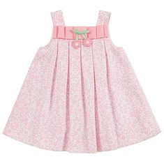Florence Eiseman Toddler Girls Pink Pique Floral Dress with Ribbon Bow