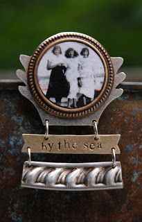 pin featuring a resin-set image of my Mom & her friends at the Jersey shore with hand stamped text and segment of thrift store vintage metal platter