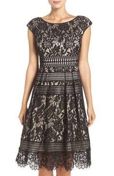 Women's Eliza J Lace Fit & Flare Dress, Size 4 - Black