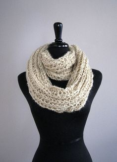 Oatmeal knitted infinity scarf