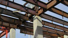 Closeup of steel beam.