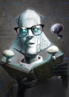 Isaac Asimov illustrato da Eric Scala :: via belial.fr - Peintre, illustrateur · Rennes Francia. sito ufficiale: http://www.ericscala.com/ - http://blogscala.blogspot.com/