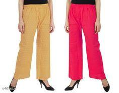 Palazzos Stylish Modern Women Palazzos Fabric: Cotton Pattern: Embroidery Multipack: 2 Sizes:  Free Size Country of Origin: India Sizes Available: Free Size, 30, 32, 34, 36, 38, 40   Catalog Rating: ★3.9 (550)  Catalog Name: Elegant Trendy Women Palazzos CatalogID_1054291 C79-SC1039 Code: 005-6616328-