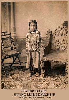 Standing Holy, daughter of Sitting Bull, wearing jewelry, full length Native American Children, Native American Images, Native American Beauty, American Indian Art, Native American History, American Indians, American Symbols, Sioux, Sitting Bull