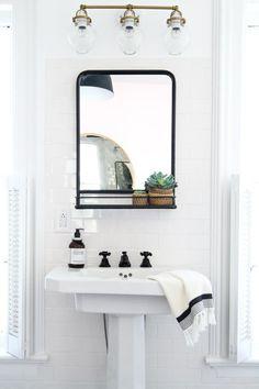 The Best Mirrors With Shelves - Mirror Trends Serene Bathroom, Bathroom Wall, Modern Bathroom, Small Bathroom, Bathroom Ideas, Bathroom Lighting, Bathroom Inspiration, Guys Bathroom, Bathroom Sinks
