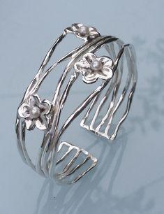 Pearl Silver Cuff Sterling Silver Bangle Handmade by TalyaDesign