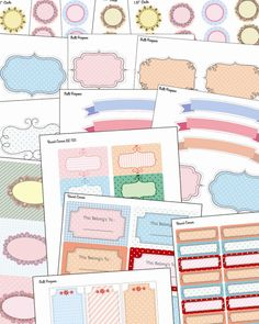 Free Printable Stationery and Multipurpose doodled labels