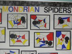 Spider math/art lesson 1st grade: looks like this one already has integration!! Grade 1 Art, First Grade Art, Halloween Art Projects, School Art Projects, Mondrian Art Projects, Halloween Fun, Art Plastique Halloween, Piet Mondrian, Spider Art
