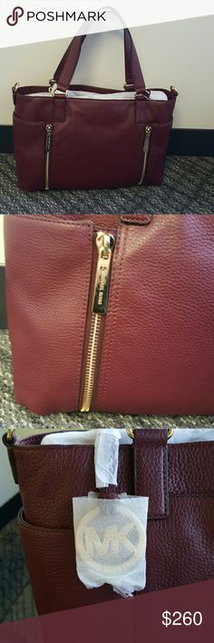 """NWT Michael Kors Crosby Leather Satchel Brand new never used!  Genuine Leather                                                 Beautiful Merlot Color Gold toned hardware and accents  Double handles with 8"""" Drop Exterior side pockets with front zippers Exterior back center slip pocket  Detachable should strap  Top zip closure  Interior zip and slip pockets  Mk signature beige lined interior Michael Kors Bags Satchels"""