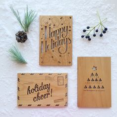 send someone some holiday cheer this season; real wood cards are the perfect gift