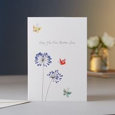 Agapanthus Better Soon Card Butterflies symbolise renewal and rebirth. Two butterflies together represent love in the East.
