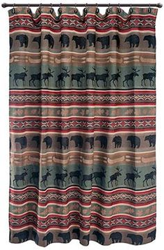 Charmant This Rustic Shower Curtain Features The Serene Black Bear Scene As It  Strolls Past The Calm Waters Of A Lakeshore Cabin.