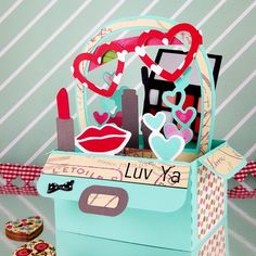 This is a Makeup Bag – Valentine's Day Box card.