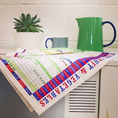 Some studio styling with our @stuartgardinerdesign Seasonal Fruit & Veg Tea Towel; Jansen & Co Mug and Water Jug - and Mike our studio succulent (cactus?!) Mike will have his own Instagram account one day Hes gonna be big!