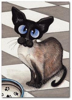 Siamese Cat Patiently Waiting for Dinner Art by AmyLynBihrle Siamese Cats, Cats And Kittens, Animals And Pets, Cute Animals, Image Chat, Photo Chat, Cat Decor, Funny Cat Pictures, Cat Drawing