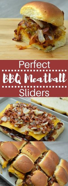 BBQ Meatball Sliders make great appetizers, especially for parties that overlap mealtimes and you don't want to prepare a sit-down meal! Shared by Where YoUth Rise Lunch Recipes, Beef Recipes, Appetizer Recipes, Cooking Recipes, Appetizers, Sausage Recipes, Sandwich Recipes, Salad Recipes, Bbq Meatballs