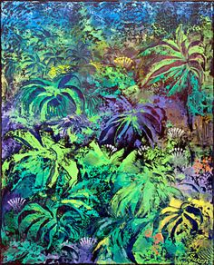 """Night in the Rainforest - Original Modern Abstract Oil Painting on Stretched Canvas by Suren Ter-Avakian 16"""" X 20"""" X 0.75"""" Free Shipping"""