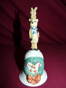Vintage Bisque Porcelain Christmas Bell Figurine - possible Dr. Seuss character $8.00