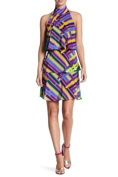 Image of Tracy Reese Sleeveless Print Halter Dress