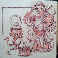 Back to the drawing board. #sketching #sketchfriday #duncanmousekawitz #patrickballesteros #robot