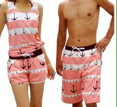 Matching swimwear for couples. This is the cutest matching outfit I've seen. I can't get over it.