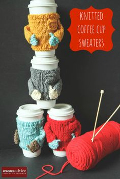 These knitted sweater Coffee Cozies are hilarious!