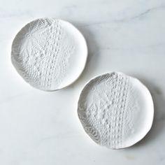 a great hostess gift: lace dessert plates