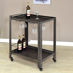 Pin for Later: 40+ Bar Carts That Will Make Your Boozy Dreams Come True  Furniture of America Taymen Industrial Black Metal Serving Cart ($197)