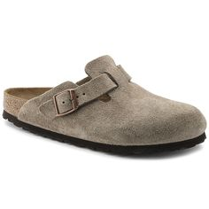 9 wide Birkenstock Women's Boston Suede Taupe Clogs (R) Birkenstock Boston, Birkenstock Slippers, Birkenstock Men, Birkenstock Outfit, Clog Sandals, Clogs Shoes, Oxford Shoes, Clogs, Zapatos