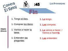 Spanish Pronoun (direct and indirect) Writing Activity -Powerpoint