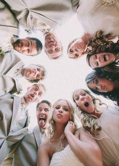 Fun bride, bridesmaids and  groom and groomsmen photo