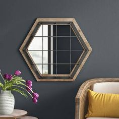 Modern reflection metal framed mirror, the mirror has a shape of a hexagon. Hang it in any way that works for your space. Set Of 4 Wall Mirrors, Mirror With Shelf, Mirror Set, Beveled Mirror, Frames On Wall, Framed Wall, Traditional Dressers, Traditional Decor, Joss And Main
