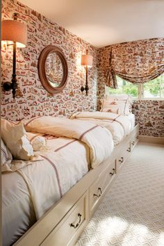 Guest Bedroom - built in toe-toe beds along the wall conserve space in cozy guest bdrm