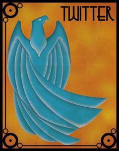 Twitter Art Deco Poster. via Etsy..... much better than the current bird in my opinion...