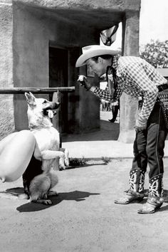 Roy Rogers, Republic Pictures, 1951 The German Shepherd Bullet and his owner Roy Rogers on the set of The Roy Rogers Show. Bullet was never quite as famous as Roy Rogers' horse Trigger, but was an integral part of the many films, television shows, books and comics that were produced.