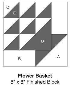 Flower Basket, part of Quilter's World's FREE Quilt Block of the Month. Get the download here: http://www.quiltersworld.com/Quilt_Block/?id=33