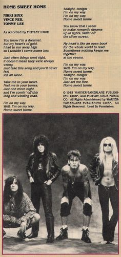 bands Image scans from hundreds of issues of Hit Parader, Circus, and more! (All credit for these images goes to the respective magazine owners, photographers,etc. Nikki Sixx, Glam Metal, Tommy Lee, Girls Girls Girls, Glam Rock, Home Lyrics, 80s Hair Bands, 80s Rock Bands, Vince Neil