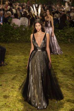 CHRISTIAN DIOR | Haute Couture | Spring 2017 | Metallic plisse gown