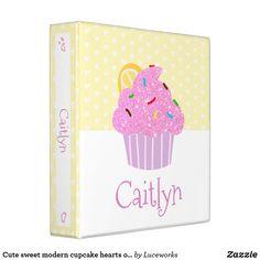 Cute sweet modern cupcake hearts on yellow, school 3 ring binder