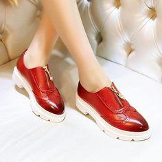 时尚精品女鞋馆,欧美复古厚底坡跟真皮深口单鞋2015春季新款欧洲站圆头低跟女鞋子