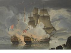 """John Christian Schetky (British, 1778-1874), """"The furious Action between H.M.S.""""Mars"""" and the French '74' """"Hercule""""  off Brest                    on 21st April 1798""""."""