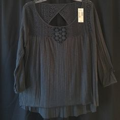 American Eagle top NWT NWT; dark gray blouse; 3/4 length sleeves; lace neckline, and back; size large American Eagle Outfitters Tops Blouses