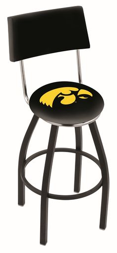 Iowa Hawkeyes (L8B4) 30 inch Tall Logo Bar Stool by Holland Bar Stool Company (with Single Ring Swivel Black Solid Welded Base and Chair Seat Back)