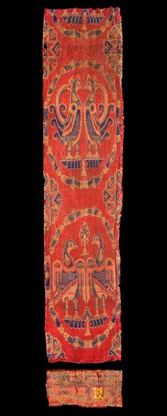 Samitum-woven textile with confronted birds in medallions, silk Iran or Iraq; c. 650–750, With its motif consisting of confronted pheasants or peacocks and eagles standing on winged palmettes in medallions, this textile clearly belongs to a tradition that was found in both the Sasanian and the Byzantine empires.