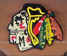 Chicago Blackhawk wall art home decor hanging by LicensePlateArts