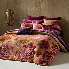 This richly toned Khaya Duvet Cover from The Tallulah Collection by Kevin O' Brien features warm sunset colors. The engineered medallion burnout plays across textured gold to bring some warmth to any bedroom décor. Full Duvet Cover, Duvet Cover Sets, King Duvet, Queen Duvet, Velvet Duvet, Moroccan Bedroom, Bed Styling, Bedding Collections, Dream Bedroom