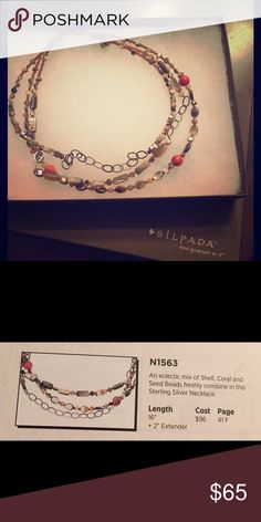 """Silpada Necklace N1563 16"""" silver necklace with a mix of shells & coral Silpada Jewelry"""