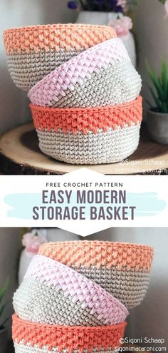 Easy Modern Crochet Storage Basket Free Pattern This is a simple basket with a modern twist. The single crochet spike stitch creates a nice, perfectly minimalist base. The bright color at the top works as a cherry on top of the cake, doesnt it? Crochet Lion, Free Crochet, Free Easy Crochet Patterns, Crochet Animals, Crochet Basket Pattern, Knit Basket, Crochet Baskets, Crochet Bags, Crochet Simple